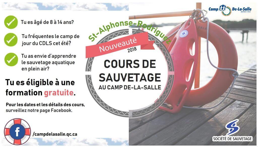 Cours de sauvetage 2018 - Camp De-La-Salle